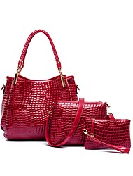 cheap -Women's Bags PU Bag Set 3 Pcs Purse Set Zipper for Event / Party Red / Purple / Brown