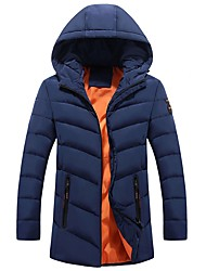 Men's Long Padded Coat,Casual Daily Going out Solid-Cotton Acrylic Polyester Long Sleeves