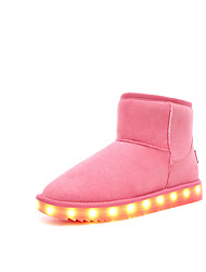 cheap -Girls' Boots Light Up Shoes Snow Boots Nubuck leather Winter Casual Outdoor Flat Heel Blushing Pink Brown Gray Black Flat