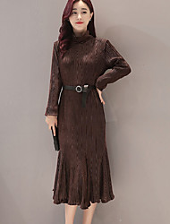 Women's Party Going out Sheath Dress,Solid Turtleneck Midi Long Sleeves Polyester Autumn High Waist Micro-elastic Medium
