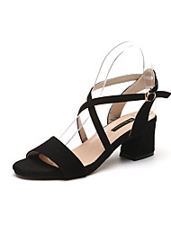 Недорогие -Для женщин Обувь Полиуретан Весна Удобная обувь Сандалии Для прогулок На толстом каблуке Блочная пятка Заостренный носок Пряжки Назначение