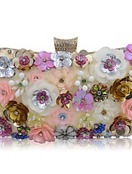 cheap -Women's Bags Polyester Evening Bag Crystals / Pearls / Flower Light Gold