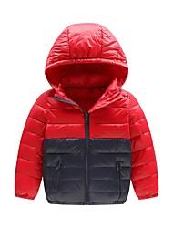 Drenge dun- og bomuldsforet Farveblok,Polyester Langærmet Simple Aktiv Blå Sort Rød