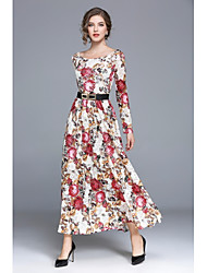 Women's Party Daily Casual Boho A Line Dress,Floral Boat Neck Maxi Long Sleeves Acrylic Polyester All Seasons High Waist Inelastic Medium