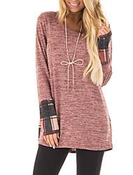 economico -T-shirt Da donna Per uscire Casual Vintage Moda città Primavera/Autunno,Monocolore A quadri Rotonda Poliestere Manica lunga Medio spessore