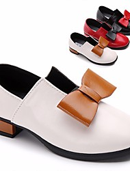 Girls' Shoes PU Spring Fall Flower Girl Shoes Heels Bowknot for Casual White Black Red