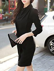 Courte Noir Robe Femme Soirée Travail simple Sexy,Couleur Pleine Col Ras du Cou Au dessus du genou Manches longues Polyester Automne Hiver