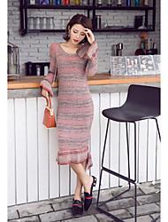 Women's Daily Sweater Dress,Color Block Round Neck Midi Long Sleeves Acrylic Mid Rise Micro-elastic Medium