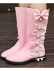 cheap -Girls' Shoes Leatherette Winter Fall Fashion Boots Comfort Boots Walking Shoes Mid-Calf Boots Beading for Casual Black Red Pink