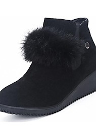 cheap -Women's Shoes Nubuck leather Winter Fall Fur Lining Fashion Boots Boots Round Toe Booties/Ankle Boots for Casual Dress Black Green
