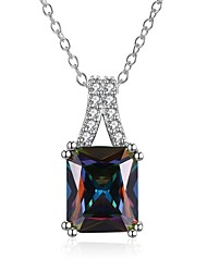 cheap -Women's Geometric Irregular Elegant Sweet Lovely Fashion Hypoallergenic Pendant Necklace Chain Necklace Cubic Zirconia Copper Silver