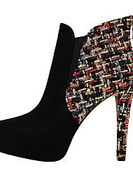 abordables -Mujer Zapatos Semicuero Primavera Otoño Confort Botas Dedo Puntiagudo Para Vestido Negro Almendra