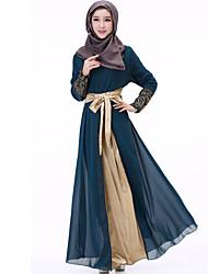 cheap -Women's Boho Chiffon Swing Abaya Dress - Patchwork Embroidered, Lace Pleated Maxi