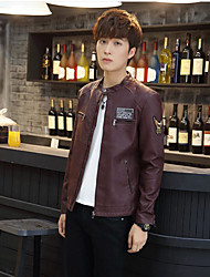 cheap -Men's Sports Going out Romantic Korean Winter Summer Leather Jacket,Solid Regular PU