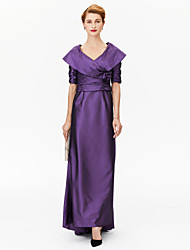 cheap -A-Line Princess V-neck Asymmetrical Satin Stretch Satin Mother of the Bride Dress with Flower(s) Pleats Ruching by LAN TING BRIDE®