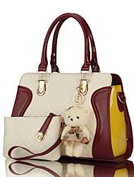 preiswerte -Damen Taschen PU Bag Set 2 Stück Geldbörse Set Reißverschluss Purpur / Fuchsia / Wein