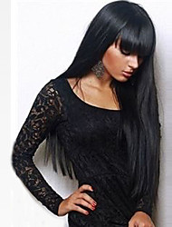 cheap -Fashion Capless Synthetic Wig Black Long Straight Hair With Bangs For Women