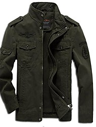 cheap -Men's Daily Going out Street chic Winter Fall Jacket,Solid Stand Long Sleeves Regular Cotton