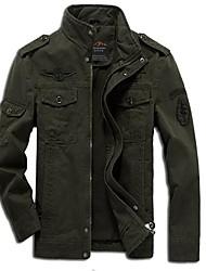 Недорогие -Для мужчин На выход На каждый день Осень Зима Куртка Воротник-стойка,Уличный стиль Однотонный Обычная Длинный рукав,Хлопок