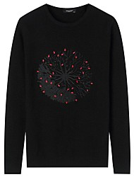 cheap -Men's Daily Casual Regular Pullover,Solid Print Round Neck Long Sleeves Polyester Winter Fall/Autumn Thick Micro-elastic