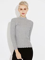 economico -Standard Pullover Da donna-Quotidiano Tinta unita Girocollo Manica lunga Cotone Inverno Autunno Medio spessore Media elasticità