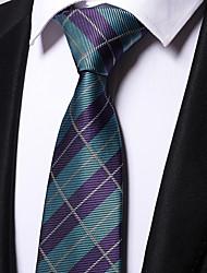 cheap -Men's Polyester Necktie,Work Casual Striped All Seasons Light Blue
