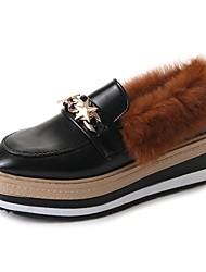 Femme Chaussures Cuir Verni Hiver Confort Mocassins et Chaussons+D6148 Bout rond Strass Pour Décontracté Noir Marron