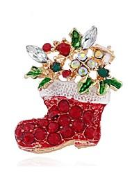 abordables -Vacaciones Joyería de Fiestas Broche de Navidad Rojo Accesorios de cosplay Navidad