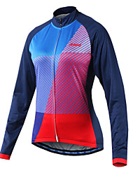baratos -Arsuxeo Mulheres Manga Longa Camisa para Ciclismo - Azul Moto Camisa/Roupas Para Esporte, Tiras Refletoras