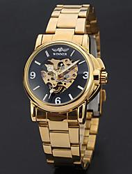 WINNER Men's Dress Watch Wrist watch Mechanical Watch Automatic self-winding Hollow Engraving Stainless Steel Band Vintage Elegant Gold