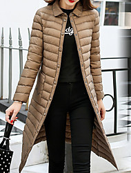 Women's Long Down Coat,Casual Daily To-Go Solid-Polyester Long Sleeves