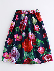 cheap -Women's Daily Midi Skirts,Casual A Line Cotton Floral Fall