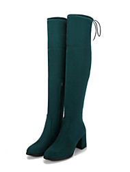 cheap -Women's Shoes Suede Fall / Winter Comfort / Novelty Boots Chunky Heel Pointed Toe Thigh-high Boots Black / Gray / Green / Wedding