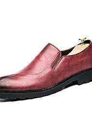 baratos -Homens sapatos Pele / Courino Outono Botas da Moda / Conforto Tênis Preto / Vermelho