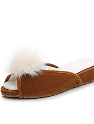 cheap -Women's Shoes Feather/ Fur Flocking Spring Fall Comfort Novelty Slippers & Flip-Flops Wedge Heel Feather for Casual Party & Evening Black