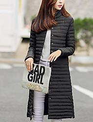 preiswerte -Damen Gefüttert Mantel Einfach Lässig/Alltäglich Solide-Polyester Polypropylen Langarm Blau / Rot / Schwarz / Grau