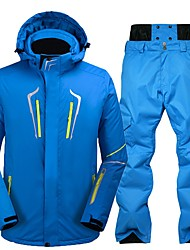cheap -Men's Ski Jacket with Pants Warm Waterproof Windproof Wearable Antistatic Breathability Ski / Snowboard Eco-friendly Polyester