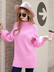 cheap -Women's Daily Going out Cute Casual Active Knitting Solid Turtleneck Sweater Pullover, Long Sleeves Winter Fall