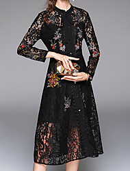 cheap -Women's Vintage A Line Dress - Embroidery, Vintage Style Modern Style Print