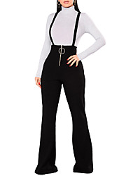 cheap -Women's High Rise Bib Tights Pants,Casual Street chic Solid Polyester