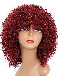 cheap -Synthetic Wig Curly African American Wig Red Women's Capless Party Wig Natural Wigs Cosplay Wig Medium Synthetic Hair