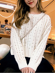 Women's Daily Wear Going out Short Pullover,Solid V Neck Long Sleeves Acrylic Winter Spring/Fall Medium strenchy
