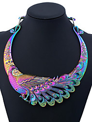 cheap -Women's Colorful Statement Necklace - Metallic Colorful Peacock Necklace For Party Daily