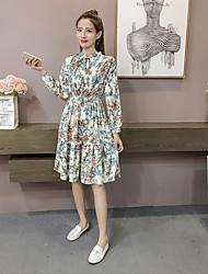 Women's Daily Going out Street chic Sheath Swing Dress,Floral Shirt Collar Knee-length Long Sleeve Cotton Winter Fall High Waist Inelastic