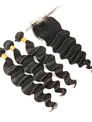 cheap -Indian Hair Remy Human Hair Loose Wave Human Hair Weaves 4pcs Natural Color Hair Weaves