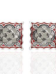 abordables -Fleur Rouge Boutons de manchettes Cuivre Motif de flocon de neige Homme Bijoux de fantaisie Pour Mariage