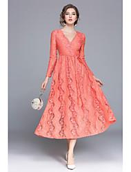 economico -Linea A Swing Vestito Da donna-Feste Casual Romantico Sensuale Moda città Ricami in pizzo Ricamato Lolita A V Medio Maniche lunghe Cotone