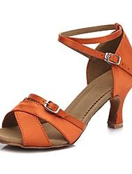 """Women's Latin Satin Sandal Heel Indoor Cuban Heel Orange 2"""" - 2 3/4"""" Customizable"""