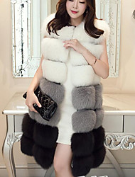 Women's Daily Going out Street chic Winter Fall Vest,Solid Round Neck Sleeveless Long Faux Fur