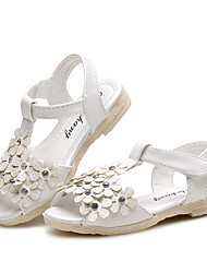 cheap -Girls' Shoes Leatherette Summer Comfort Sandals Rhinestone Magic Tape Flower for Casual Dress White